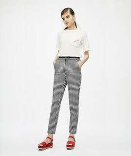 [REPRICED] GU tapered cropped pants (gingham)