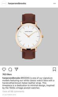 Harper & Brooks women's leather rose gold watch