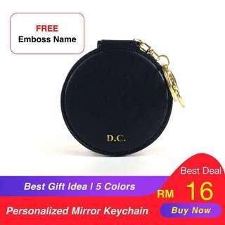 [26Monogram] Personalised PU mirror keychain Best gift idea