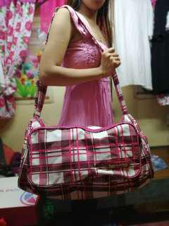 Heartstrings' small travel bag - pink checkered