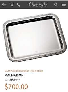 Brand New Christofle Medium Silver Plated Rectangular Tray