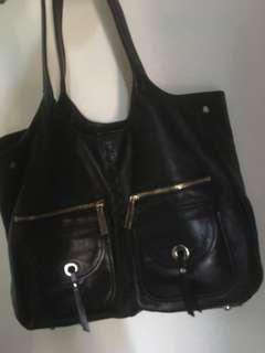 Sportscraft black Leather Bag with Gold hardware