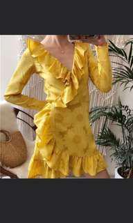 BNWT Yellow wrap mini dress