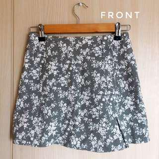 Grey Floral Denim Skirt