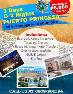 3d2n all in Puerto Princesa Group of 6 PACKAGES