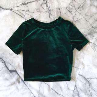 Dark green velvet crop tee XS