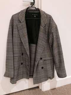 ZARA (worn once) Checkered Houndstooth Oversize Blazer S/M