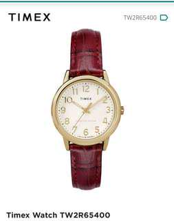 Timex easy read gold dial and burgundy strap ladies watch with warranty