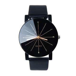Women's Leather Stainless Steel Quartz Analog Wrist Watch