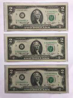 1976 US$2 綠印三連號UNC 一組