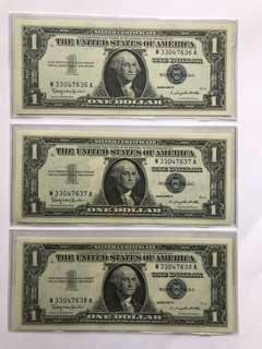 1957B US$1 藍印 三連號 UNC 一組