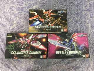 HG GUNDAM SEED 模型3隻 Saviour Gundam Infinite Justice Gundam Destiny Gundam