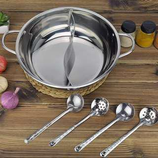 Brand new CNY stainless steel yuan yang steamboat pot hotpot *free 4 piece utensils*