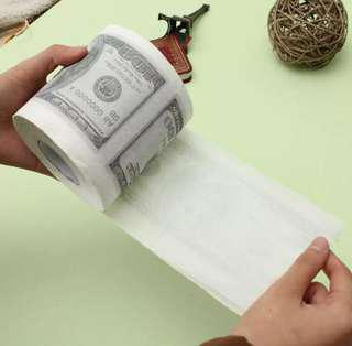 2 rolls hundred dollars toilet paper tissue luxury novelty fun