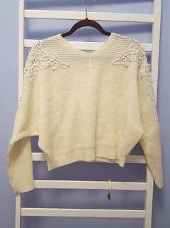 Korean Pearl and Lace cream sweater
