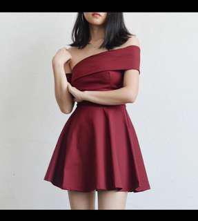 Off Shoulder Maroon Red Dress #under90