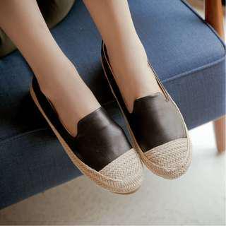 🚚 折 [全新轉售] 韓-麻繩鞋頭繞邊真皮墊包鞋-黑37號 (適23 / 36穿)