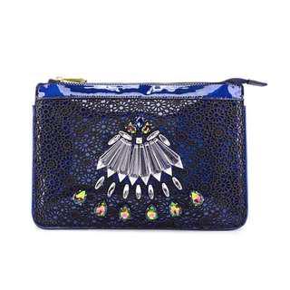 🚚 全新💎 華麗鑲鑽 珠寶 絢彩 雕花蕾絲 孔雀藍 手拿包 收納包 晚宴包