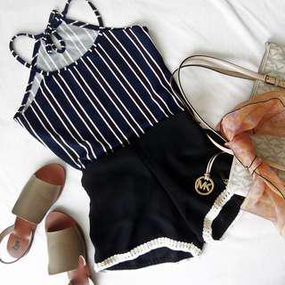 Black Shorts w/ White Detail Lining