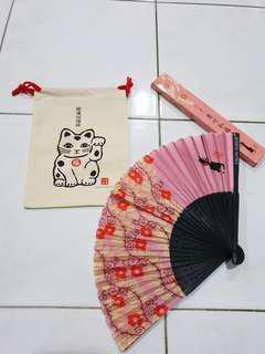 #99sales fortune cat pouch & pink fan