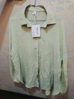 🚚 綠色雪紡襯衫