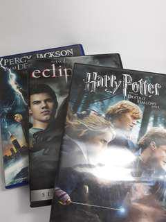 Orig DVDs HP7, Eclipse, Percy Jackson