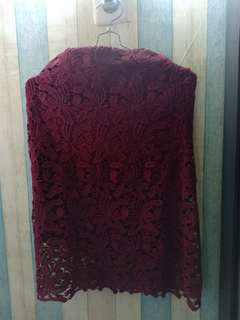 Rok span bordir maroon