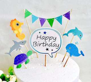 (31/8) FREE NORMAL MAIL - Happy Birthday under the sea theme + party flag topper / Tags / Baking Supplies / cake decorations  ( pls refer to pic 2 for actual color )