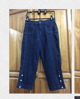 🚚 深藍🐎休閒七分牛仔褲 #九月女裝半價