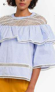 BNWT Blue stripe layered blouse