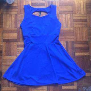 Blue Dress with Tear Drop Back Cut Out