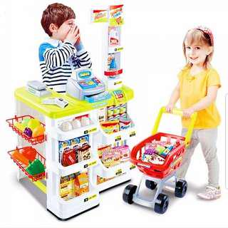 Supermarket with Cash register cashier trolley fruits and vegetables toy set