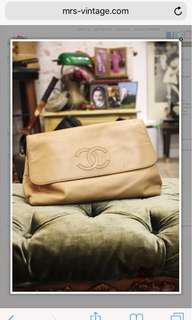 Pre Owned Chanel Beige Lambskin Large Sized Clutch Bag