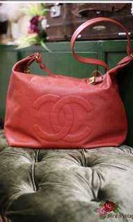 Vintage Chanel Large Red Caviar Shoulder Bag
