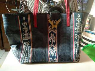 Leather and Ikat Bag