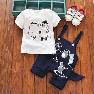 👕 Short-sleeved Shirt & Dinosaur Overall 2-Piece Set (Dark Blue)👖