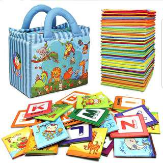 Alphabets and Animals Cloth flash Cards Memory Training Educational teaching Aids