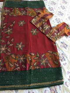 Indian red-green-yellow Saree