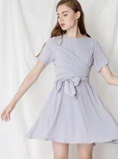 AWD Andwelldressed Tribute Tie Knot Wrap Dress In Lilac Grey