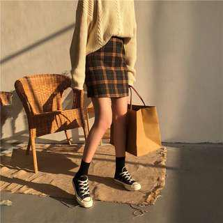 A1406🌸3色*學院風格紋高腰短裙