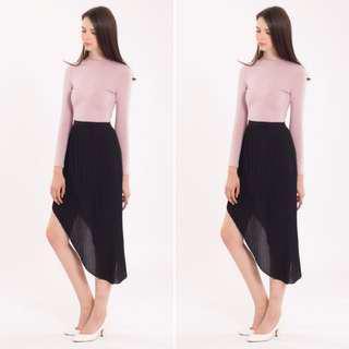 NWOT Black Pleated Asymmetrical Chiffon Skirt #under90 #mcsfashion