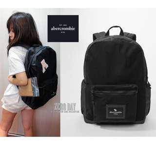 美國a&f真品abercrombie&fitch customizable patch backpack DIY後背包黑