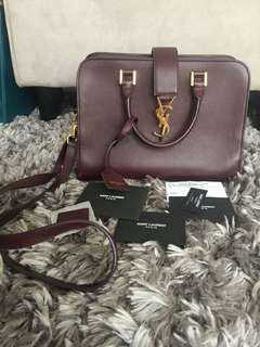 YSL small monogram cabas in oxblood