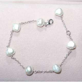 Freshwater pearl S925 Itay silver bracelet 天然珍珠S925純銀意大利手鏈