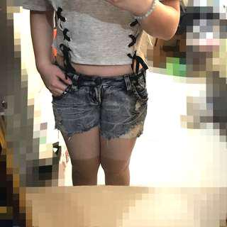 Stud Ripped Short Jeans