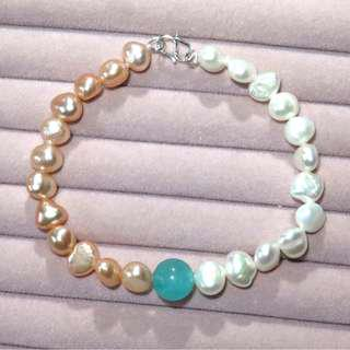 Freshwater pearl S925 silver clasp bracelet 天然珍珠S925純銀扣手鏈