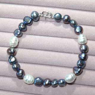 Freshwater pearl S925 silver chasp bracelet 天然珍珠S925純銀扣手鏈