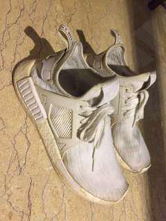 Authentic beat/ beated nmd triple white