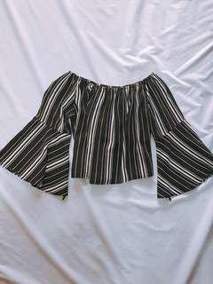 [REPRICED] Off shoulder striped top