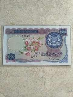 A/1 595381 LKS SINGAPORE $100 ORCHID FIRST PREFIX XF/XF+